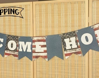 Welcome Home Banner, Patriotic, Military Homecoming, Deployment, Homecoming Sign, Americana Welcome Home, Military Decor, Welcome Home