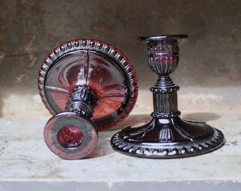 Plum Tinted Glass Candlesticks Vintage