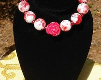 rose red white glass bead bracelet,