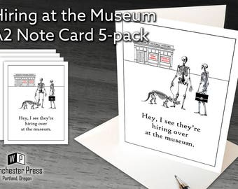 Funny Note Cards, Funny Fossil Cards, Funny Blank Note Cards, Gift for Anthropologist, Hiring at the Museum Note Cards Set Anthropology Gift
