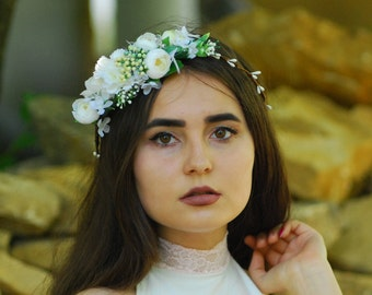 White flower crown Bridal headband Bridal headpiece Rustic wedding flower Flower wreath Woodland wedding Bridal hair crown Boho floral crown