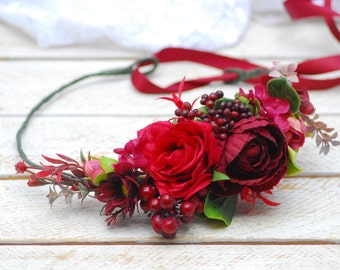 Burgundy flower crown Wedding halo Bridal flower crown Wedding flower crown Bridesmaid flower crown Floral crown Flower headband Hair wreath
