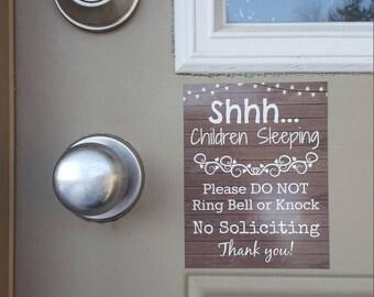 Children Sleeping No Soliciting Door Magnet, Baby Sleeping, Door Sign, Do Not Ring Doorbell, Do Not Knock, Front Door Magnet, Parents, Wood