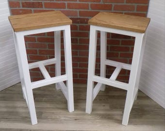Oak Stool / Beach Style / White / Bar Height / Country / Rustic / Wood / Classic /