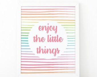 Enjoy the little things, inspirational quote, Nursery print, Instant Download, Kids room decor, Kids wall art, printable art, kids printable