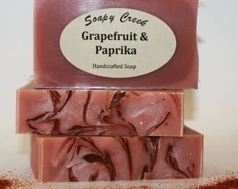 Grapefruit Paprika soaps, All Natural Soap, Handmade Soap, Cold Process Soap, Handcrafted Soap, Homemade Soap, Essential Oil Soap, Bar Soap