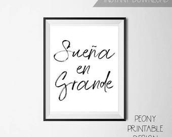 Spanish Printable Quotes, Spanish Home Decor, Printable Wall Art, Spanish Typography Sign, Printable Decor