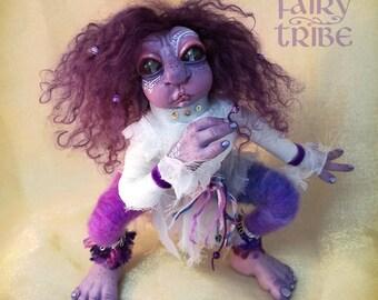 OOAK fantasy creature, Purple Elf, fairy art doll