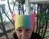 Pussy hat, pussyhat, gay pride, ready to ship, women's march hat, polar fleece, rainbow, feminism, LGBTQ, cat hat, pussyhat project, pride