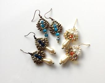 UNUSUAL BEADED PEARL Earrings Bronze Teardrop Colour Choice