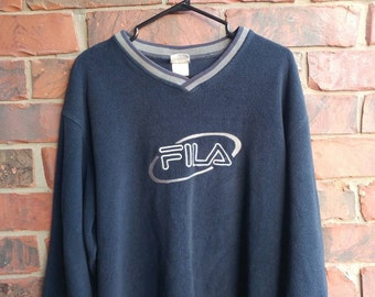 Vintage Fila Sweater 1990s Fila Fleece Logo Sweatshirt