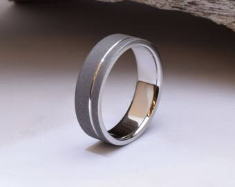 His wedding band, mens titanium wedding band, sandblasted wedding ring for him or her, Gents ring, unique titanium wedding band