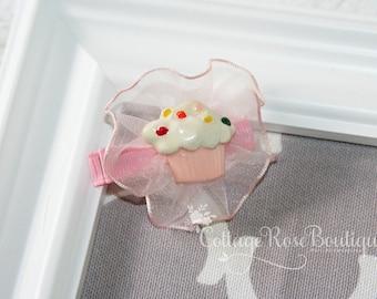 Birthday Cupcake Hair Clip, Birthday Bow, Pink Ruffle Hair Clip, Cupcake Hair Clip, First Birthday, Birthday Hair Bow, Pink Hair Bow