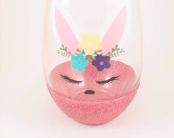 Easter wine glass etsy bunny wine glass easter easter bunny girls easter gifts glitter wine glass negle Choice Image