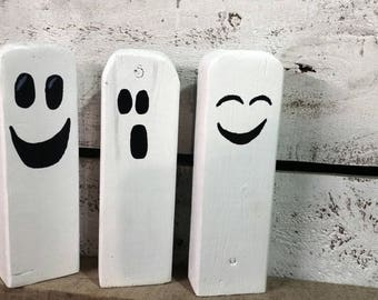 3 Reclaimed Wooden Ghosts, Reclaimed Rustic Pallet Wooden Ghosts,  Rustic Halloween Decor-Fall Decor