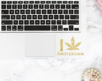 GLITTER I love Amsterdam decal, I love Amsterdam sticker for macbook, laptop, car, notebook, tablet, ipad