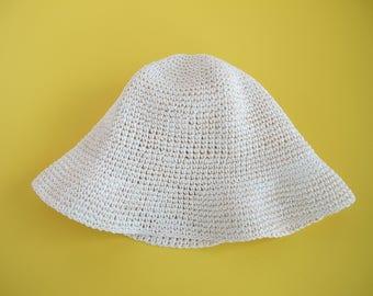 Floppy Sun Hat Vintage Straw Hat Woven Hat Cloche
