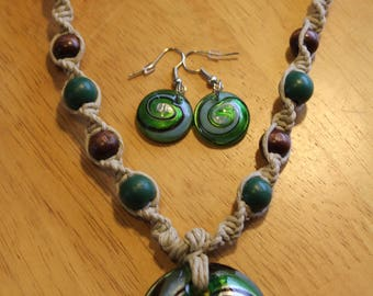 Hemp Necklace with Green/Blue/Silver Swirl Glass Pendant & Matching Earrings - Necklace with Beautiful Spiral Pendant - Casual Jewelry