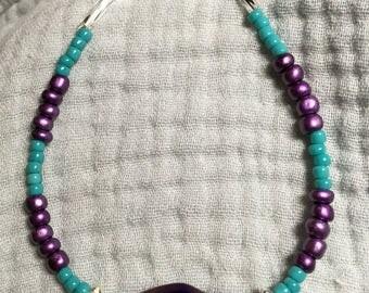 """7 1/2"""" Purple Glass Twist Bracelet"""