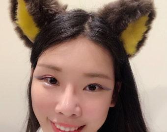 Cat ears Kitty Head wear Brown Yellow Black Furry Animal Headband Costume Bow Bells