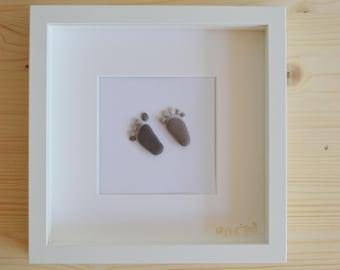 Beach pebble feet framed framed art