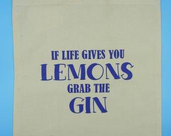 If life gives you lemons grab the gin tote bag, gin tote