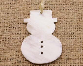 Fair Trade Cow Horn Snowman Ornament from Uganda, East Africa