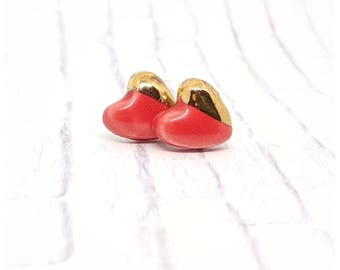 red Heart earrings Valentines earrings porcelain earrings red earrings gold studs red and gold earrings cinnamon hearts Valentine's gift