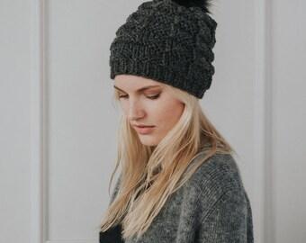 Chunky Knit Hat// Faux Fur Pom Pom// Blend of Alpaca Wool & Merino Wool// Dark Grey Colour