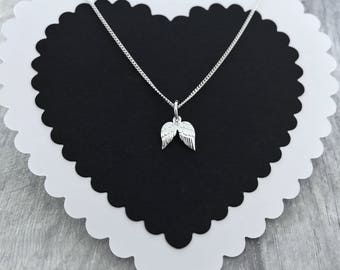 ANGEL WING NECKLACE/Angel Necklace/Wing Necklace/Guardian Angel Necklace/Silver Feather Necklace/Silver Wing Necklace/Memorial Necklace