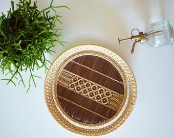 Boho rattan tray vintage tray bohemian ethno wicker round home decor basket basket
