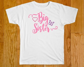 Big Sister Butterfly Shirt - Part of the Matching Sister Shirt Set
