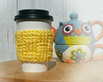 Yellow Crochet Cup Sleeve - Springtime Basketweave Everyday Cup Sleeve in Buttercup