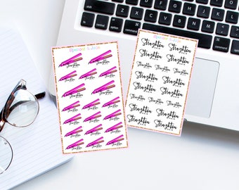 STRAIGHTEN HAIR Planner Stickers - Hair Appointment, Getting Ready, Beauty Hair Straightener Stickers for Erin Condren and OTHER