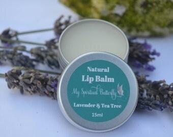 Lip Balm - Lavender & Tea Tree Lip Balm - 100% Natural, Handmade