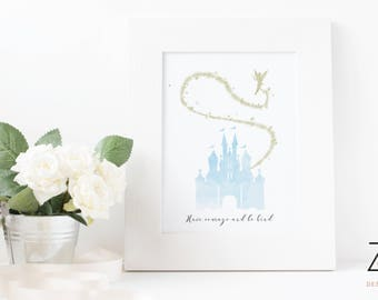 Cinderella Disney Castle Print with Quote 'Have Courage and Be Kind' featuring tinker bell - Blue Castle