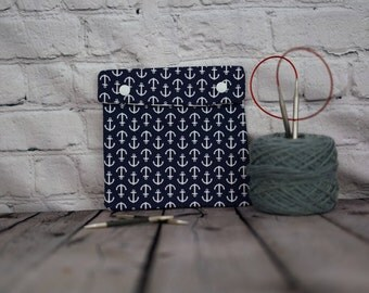 Blue Anchors Circular Knitting Needle Case or Notions case for Knitting Notions, Crochet notions case, Accessories case, Sewing