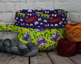 Count Dracula, Vampire Knitting  Bucket bag, Knitting project bag, 3 skein project bag, Crochet project bag, Shawl Knitting Bag, Yarn bowl
