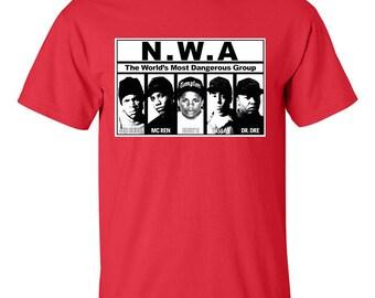 NWA Straight Outta Compton T-Shirt World's Most Dangerous Group Hip Hop Legend Shirt Rap Gangsta LA Hip Hop Ice Cube Dr Dre