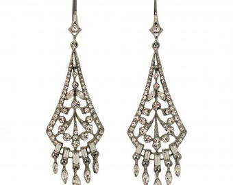 Bridal Earrings Designer Carolee 1990s Silver Tone Rhinestone Diamante Vintage Drop Earrings