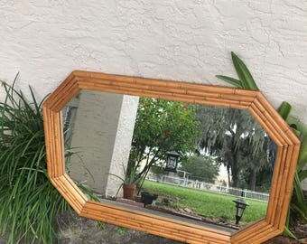 Vintage Faux Bamboo octagonal Mirror - hollywood regency - palm beach chic