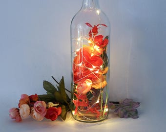 Autumn Bottle Light, Autumn Gifts, Autumn Decor, Thanksgiving Gifts, Thanksgiving Table, Fairy Lights, Fall Decor, Terrarium, Autumn Flowers