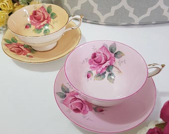 2 x Paragon Roses Duo Cups and Saucers Set By Appointment to H.M. The Queen & H.M Queen Mary.