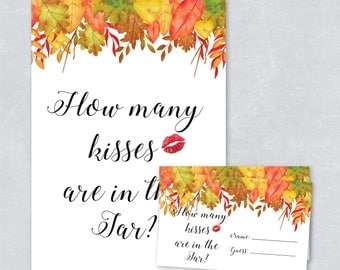 Autumn fall bridal shower game, how many kisses are in the jar, guess the kisses game, DIY printable bridal shower game, INSTANT DOWNLOAD