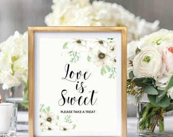Love Is Sweet Please Take A Treat, Wedding Cake Table Sign, Dessert Sign, Please Take One Sin,Printable Weddin Sign, Floral Watercolor #A001