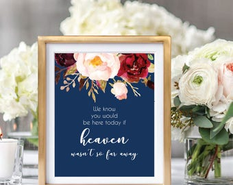 Wedding Memorial Sign, Remembrance Sign, In Memory Of, Printable Memorial Sign, Wedding Sign Printable, If Heaven Wasn't So Far Away, #A004
