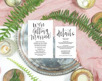 Rustic wedding invitation template, Wedding invitation pdf, Editable wedding invitation, Printable wedding invitation set, Wedding suite