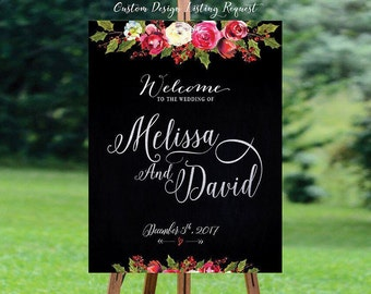 Wedding Welcome Sign, Winter Wedding Welcome Sign, Navy Blue, Navy and Sliver Wedding , Christmas Wedding sign - US_WS1005