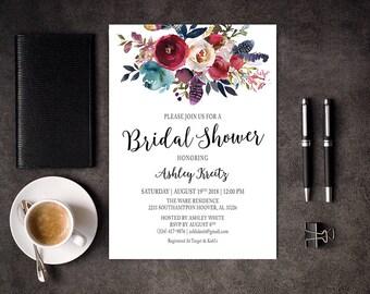 Watercolor Bridal Shower invitation, Bridal shower invitation, Rustic bridal shower invitation, Floral Bridal Shower - US_BI1601