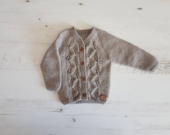 Baby Cardigan, Hand Knitted, Hand Knit Sweater, Baby Sweater, Kids Cardigan, Baby Shower Gift, Baby Gift, Knitted Baby Clothes, Girls Jumper